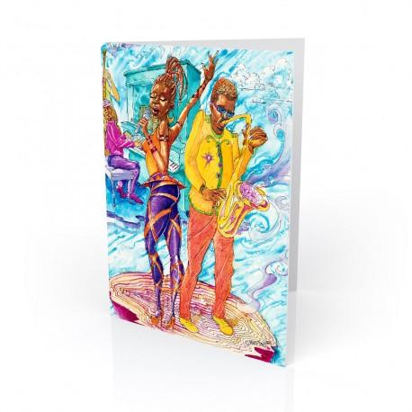 """Singin', Blowin', Grovin', Flowin'"" Greeting Card, artwork by Carlos Spivey"