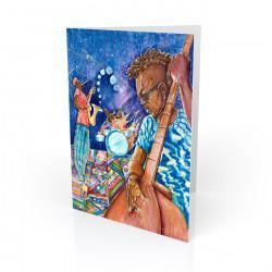 """Drummer's Burnin"" Greeting Card, artwork by Carlos Spivey"