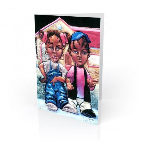 """Nahasa & Derrick"" Greeting Card, artwork by Carlos Spivey"