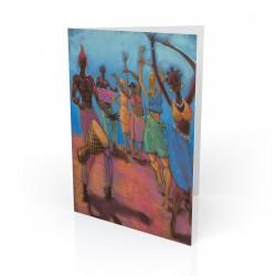"""Blue Sky Dancers"" Greeting Card, artwork by Carlos Spivey"