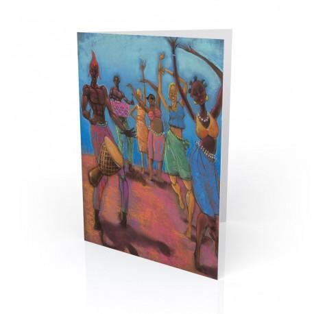 """Blue Sky Dancers"" Greeting Card, artwork by Carlos Spivey"