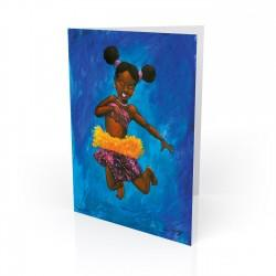 """Indigo Leaps"" Greeting Card, artwork by Carlos Spivey"
