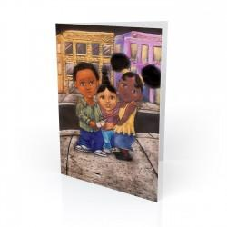 """3 Kids on the Hill"" Greeting Card, artwork by Carlos Spivey"