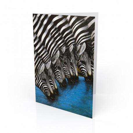 """""""Zebras At The Watering Hole"""" Greeting Card, artwork by Dexter Griffin"""