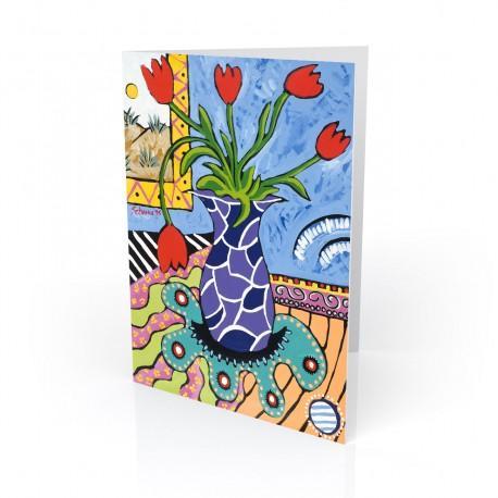 """""""Tulips Fantasy"""" Greeting Card, artwork by Gwendolyn Scheers"""