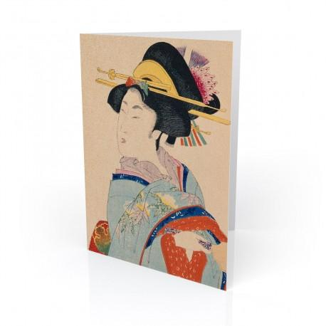 """""""Woman With Hair Ornaments"""" Greeting Card, with Japanese Wood Block Prints Artwork"""