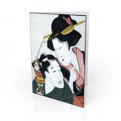 """Stick Puppet"" Greeting Card, with Japanese Wood Block Prints Artwork"