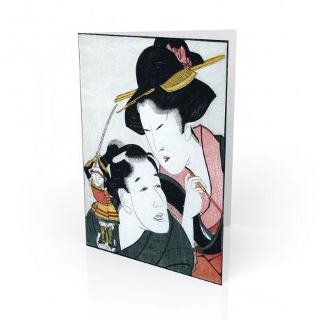 """""""Stick Puppet"""" Greeting Card, with Japanese Wood Block Prints Artwork"""