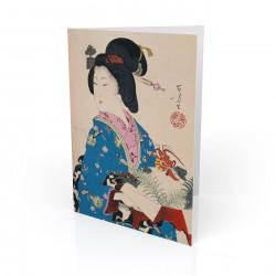 """Woman with Lobster"" Greeting Card, with Japanese Wood Block Prints Artwork"