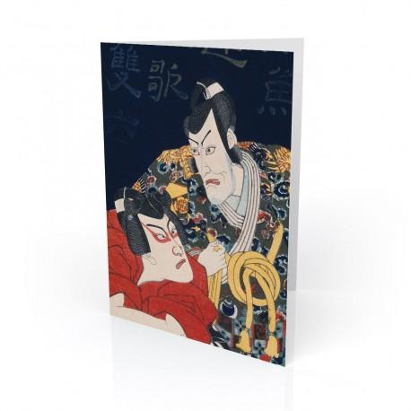 """Kabuki Scene"" Greeting Card, with Japanese Wood Block Prints Artwork"