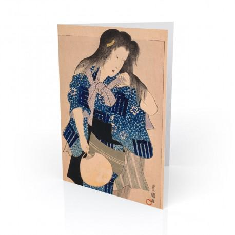 """Woman With Fan"" Greeting Card, with Japanese Wood Block Prints Artwork"