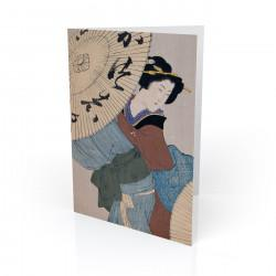 """Woman With Umbrella"" Greeting Card, with Japanese Wood Block Prints Artwork"