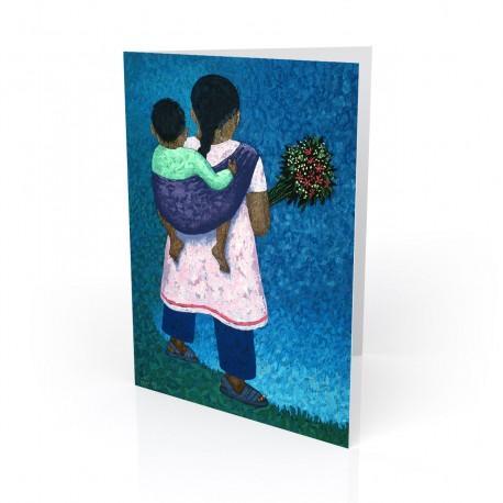 """Flower Vender"" Greeting Card, artwork by Vico"