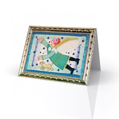 """""""Angel Azul (Blue Angel)"""" Greeting Card, artwork by Rodolfo Morales - Oaxaca,Mexico"""
