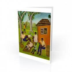 """Untitled (Haitian Family)"" Greeting Card, artwork by Pierre-Joseph Valcin"