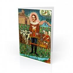 """San Isidro Labrador (St.Isidore the Farmer)"" Greeting Card, artwork by Retablo"