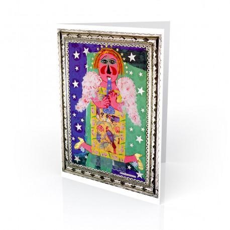 """""""En el Cielo Tambien se Baila (They Even Dance in Heaven)"""" Greeting Card, artwork by Rodolfo Morales"""