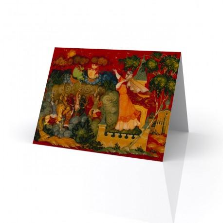 """""""Unknown"""" Greeting Card, with Russian Lacquer Box Artwork"""