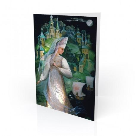 """""""Lubava"""" Greeting Card, with Russian Lacquer Box Artwork"""