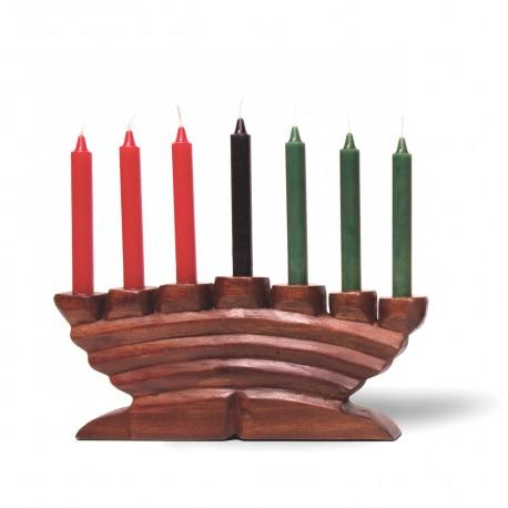 Carved Wood Kinara - Candle Holder, Style C