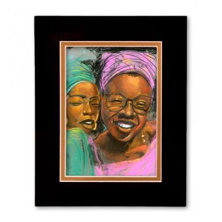 """""""Sisters"""" Matted Print, art by Carlos Spivey"""
