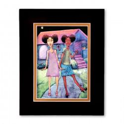 """Afropuffs"" Matted Print, art by Carlos Spivey"