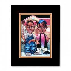 """Nahasa & Derrick"" Matted Print, art by Carlos Spivey"