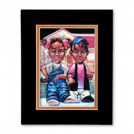 """Nahasa & Derrick"" Matted Print, art by Carlos Spivey"
