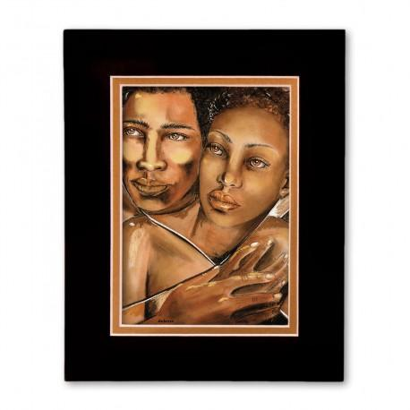 """Embrace"" Matted Print, art by Carlotta Swain-Ward"