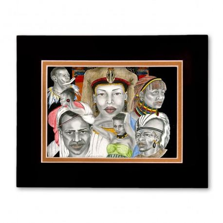 """Diversities of Heritage"" Matted Print, art by Carlotta Swain-Ward"
