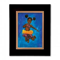 """""""Indigo Leaps"""" Matted Print, art by Carlos Spivey"""