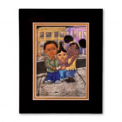 """3 Kids on the Hill"" Matted Print, art by Carlos Spivey"