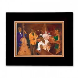 """""""The Burgandy Room Band"""" Matted Print, art by Carlos Spivey"""