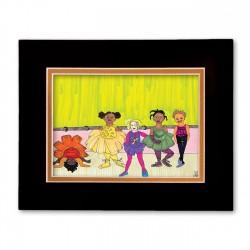 """Little Dancers"" Matted Print, art by Aileen Ishmael"