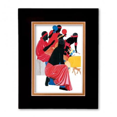 """""""African Drummers"""" Matted Print, art by Edwin Harris"""