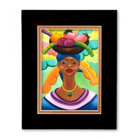 """Woman With Fruit"" Matted Print, art by Fritzner Alfonse"