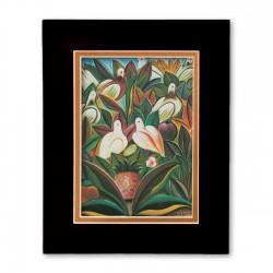 """Birds, Flowers & Leaves"" Matted Print, art by Fritzner Alfonse"