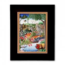 """Jungle Scene with Hippo"" Matted Print, art by Jerome Polycrape"