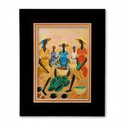 """Gathering at the Market"" Matted Print, art by Rameau Cameau"