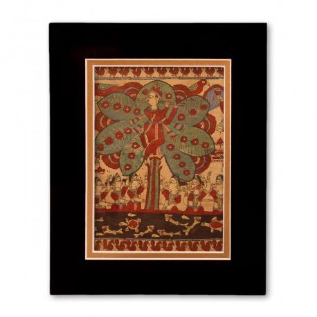 """""""The Lord Krishna"""" Matted Print with  Indian Textile Artwork"""