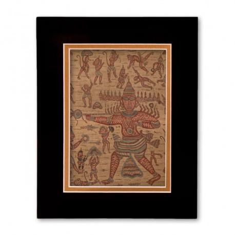 """""""Scene from the Ramayana"""" Matted Print with  Indian Textile Artwork"""