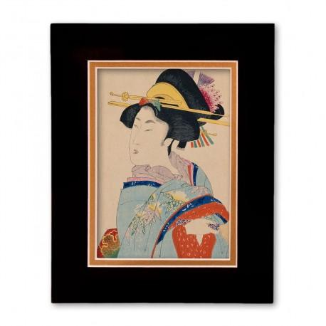 """Woman with Hair Ornaments"" Matted Print with Japanese Wood Block Print Artwork"