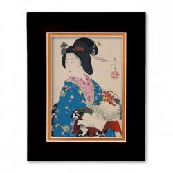 """Woman with Lobster"" Matted Print with Japanese Wood Block Print Artwork"