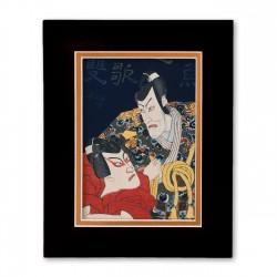 """Kabuki Scene"" Matted Print with Japanese Wood Block Print Artwork"
