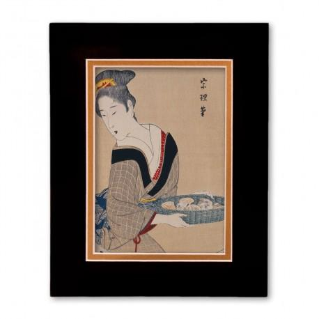 """Woman with Basket of Clams"" Matted Print with Japanese Wood Block Print Artwork"