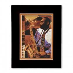 """Jazz Club"" Matted Print, art by Keith Mallet"