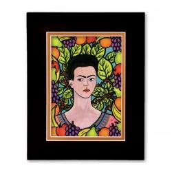 """Frida & Her World"" Matted Print, art by Hector Guerra"