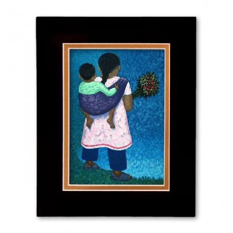 """""""Flower Vender"""" Matted Print, art by Vico"""