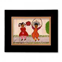 """Playmates"" Matted Print, art by Gloria Lovelady"