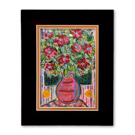 """Electric Florals #2"" Matted Print, art by Tony DiAngelis"